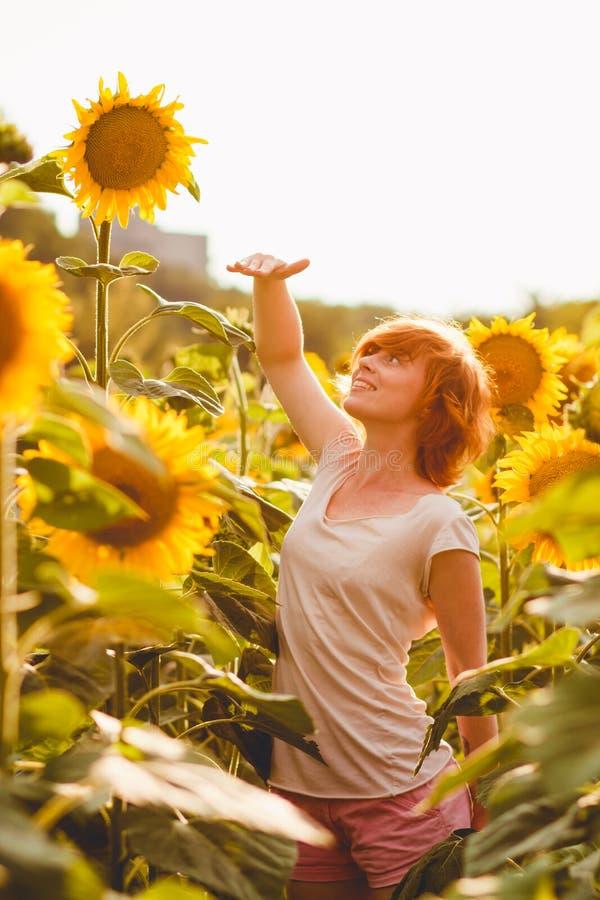 Het roodharige meisje bevindt zich naast een lange zonnebloem, meet een vrouw de hoogte van een zonnebloem, wordt haar hand opgeh stock foto