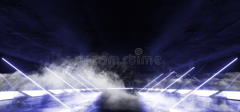 Het rook Overgehelde van de het Stadium Virtuele Werkelijkheid van de Lijnenbouw van het Neon Gloeiende Violet Blue Sci Fi Futuri royalty-vrije illustratie