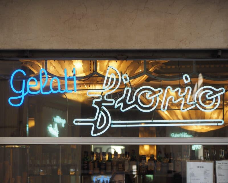 Het roomijs van Gelatifiorio shope storefront in Turijn royalty-vrije stock afbeelding