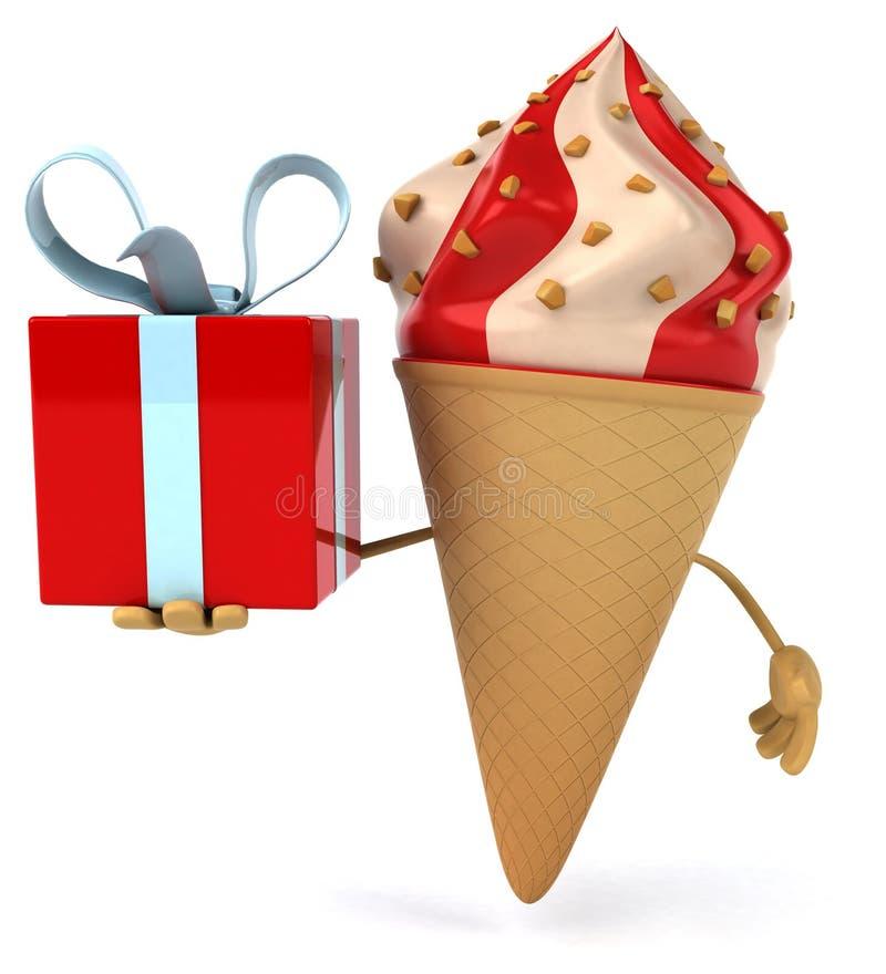 Het roomijskegels van de aardbei, van de chocolade, van de vanille en van de pistache over witte achtergrond stock illustratie
