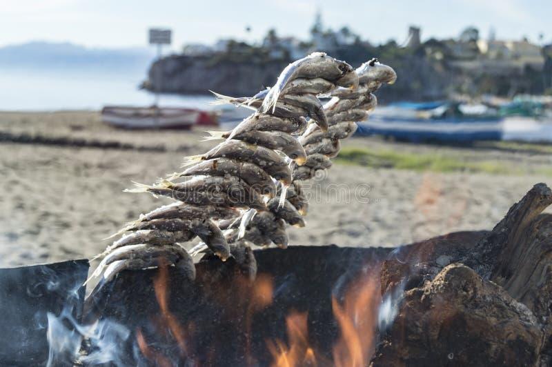 Het roosteren van sardines op de Costa del Sol royalty-vrije stock afbeeldingen