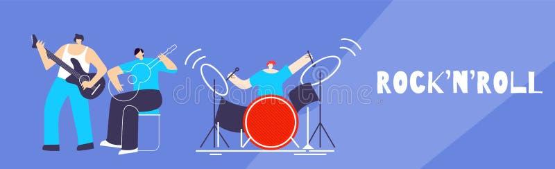 Het rots-n-Broodje van musicusband people doing Vlakke Banner stock illustratie