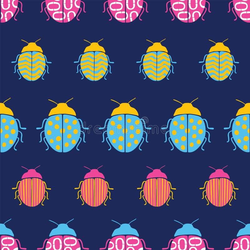 Het roze, aqua en de gele kevers op blauwe naadloze achtergrond herhalen patroon vector illustratie