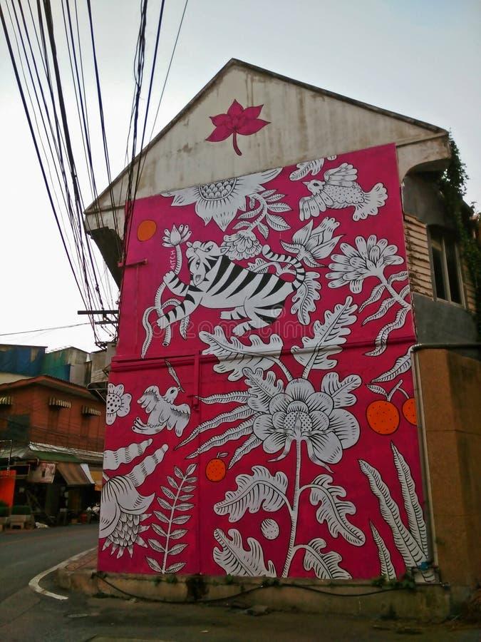 Het roze art. van de tijgerstraat stock afbeeldingen