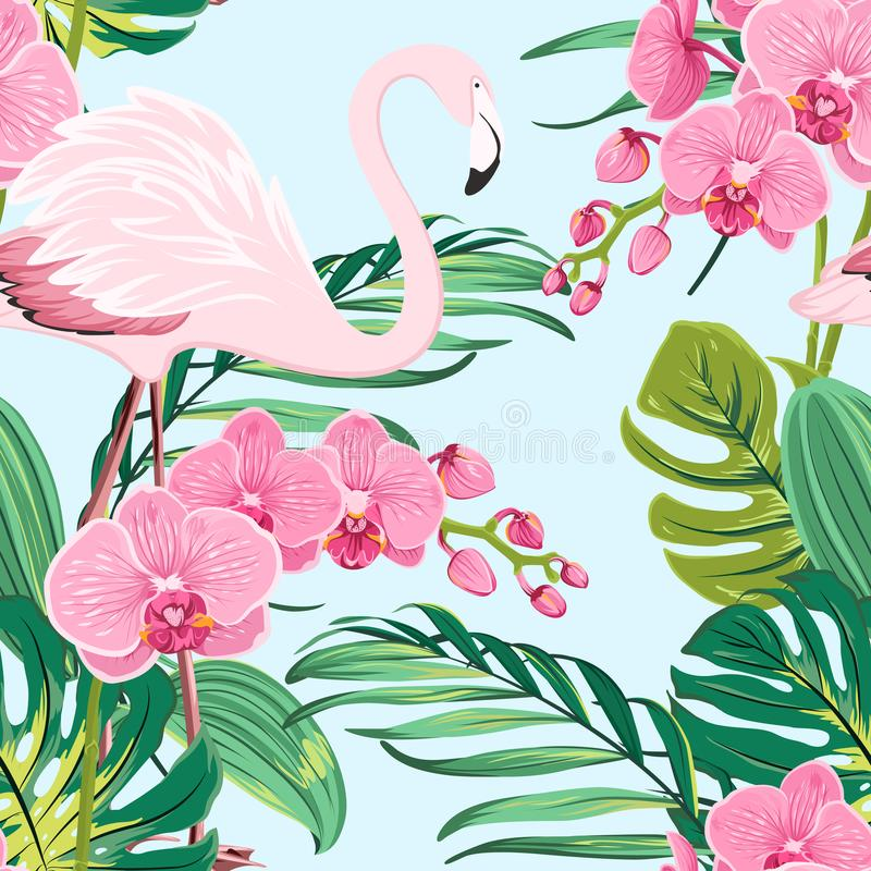 Het roze blauw van het de bladerenpatroon van de orchideeflamingo tropische vector illustratie