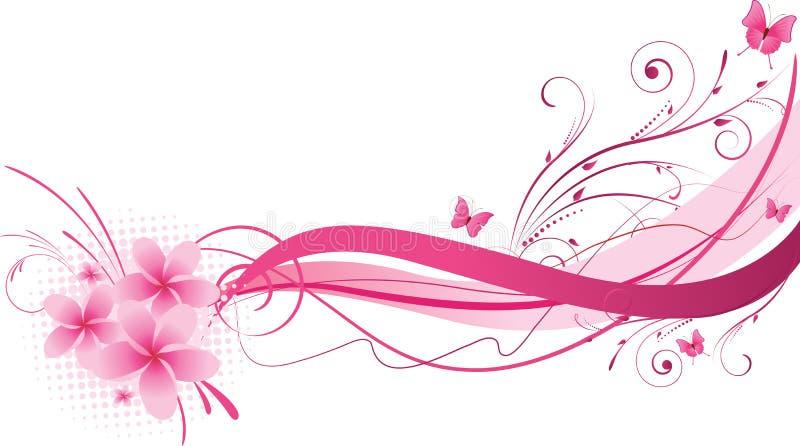Het roze bloemenontwerp van Plumeria stock illustratie