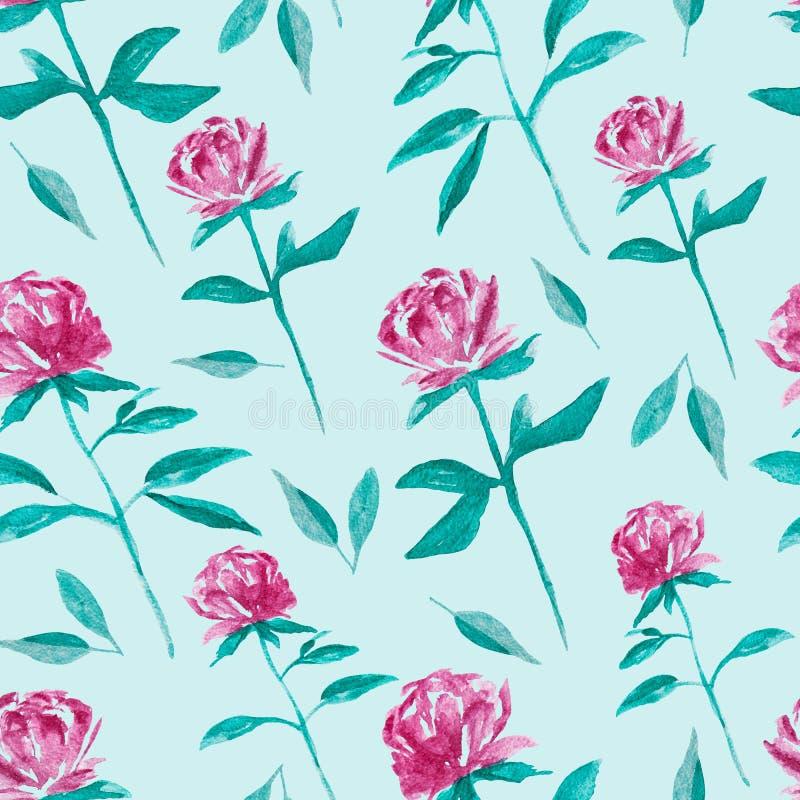 Het roze bloemenwaterverf schilderen - hand getrokken naadloos patroon op lichtblauwe achtergrond royalty-vrije illustratie