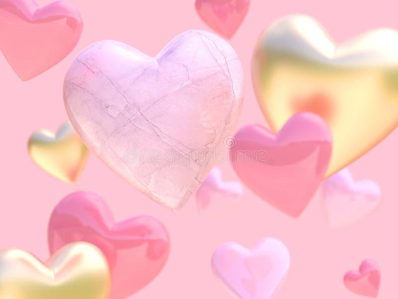 Het roze concept van de achtergrondliefde Romaanse valentijnskaart velen 3d teruggevende nadruk van de hartvorm witte het hartvor royalty-vrije illustratie