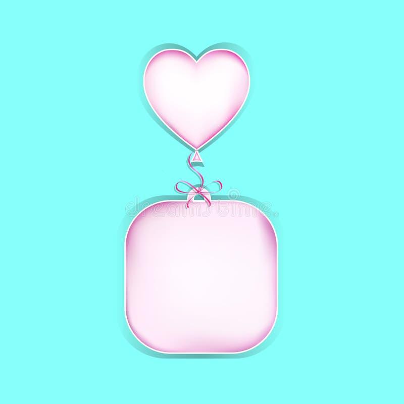 Het roze document sneed exemplaar ruimtediesticker op een turkooise achtergrond, vierkante vectorillustratie wordt geïsoleerd royalty-vrije illustratie