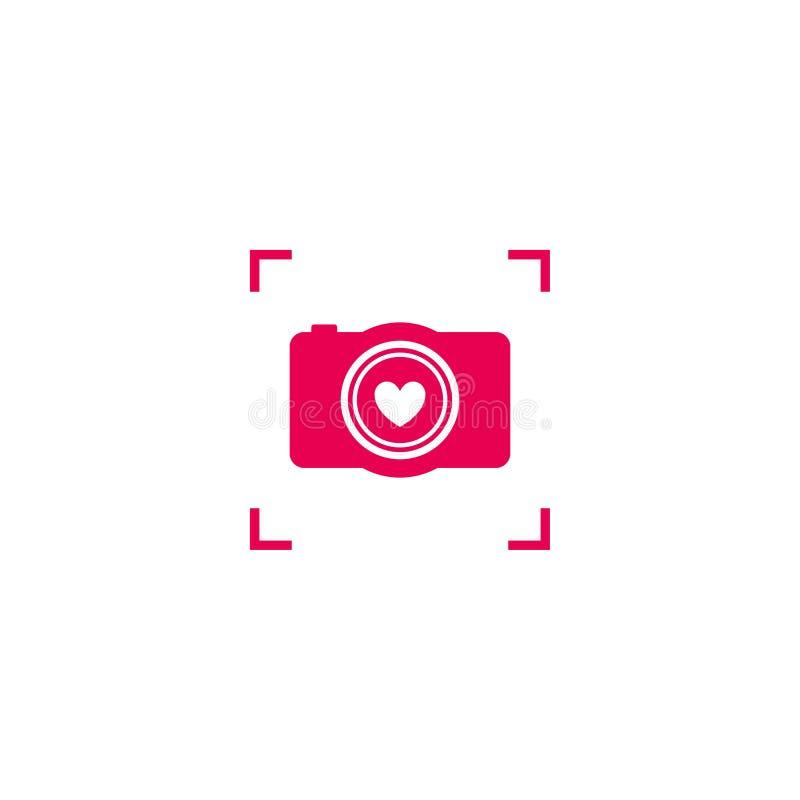 Het roze embleem van de cameraliefde stock illustratie