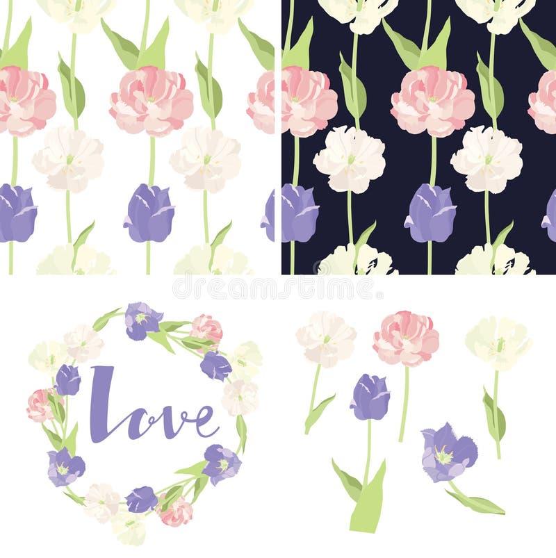Het roze en lilac Kader van het tulpen Naadloze patroon en geïsoleerde voorwerpen royalty-vrije illustratie