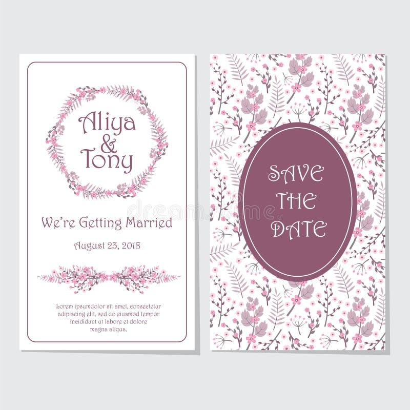 Het roze en purpere van de het huwelijksuitnodiging van de bloemkroon malplaatje van het de kaart vectorontwerp vector illustratie