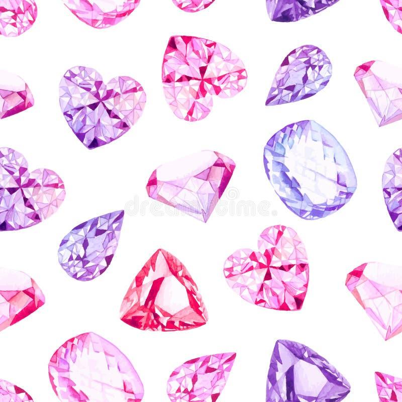 Het roze en violette naadloze vectorpatroon van de diamantenwaterverf vector illustratie