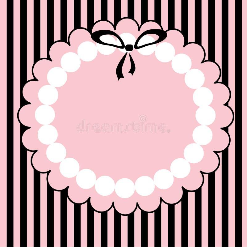 Het roze frame met zwarte kleine boog. stock afbeelding