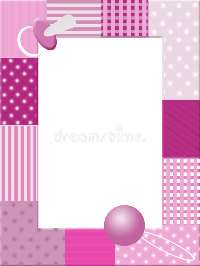 Het roze frame van de babysfoto royalty-vrije illustratie