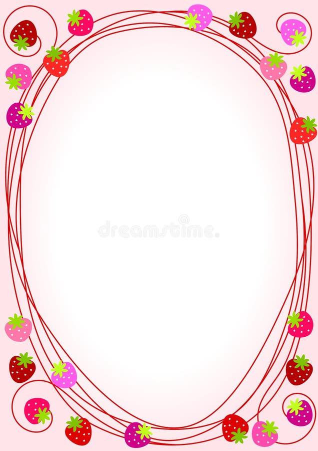 Het roze Frame van de Grens van Aardbeien royalty-vrije illustratie