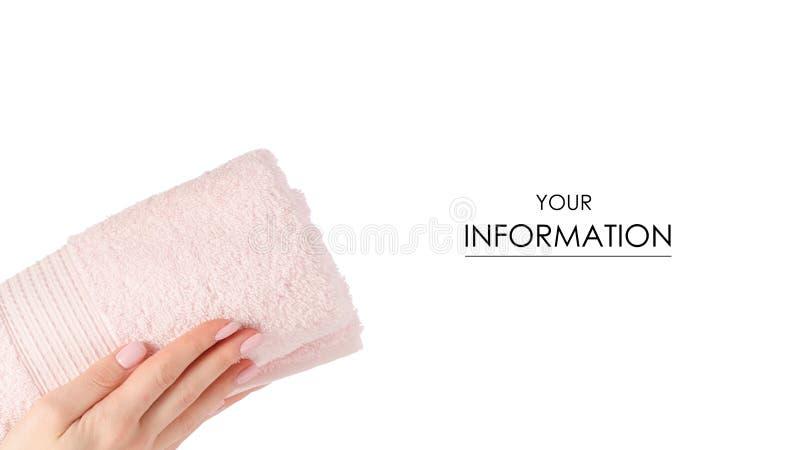 Het roze in hand patroon van het handdoekbroodje stock afbeelding