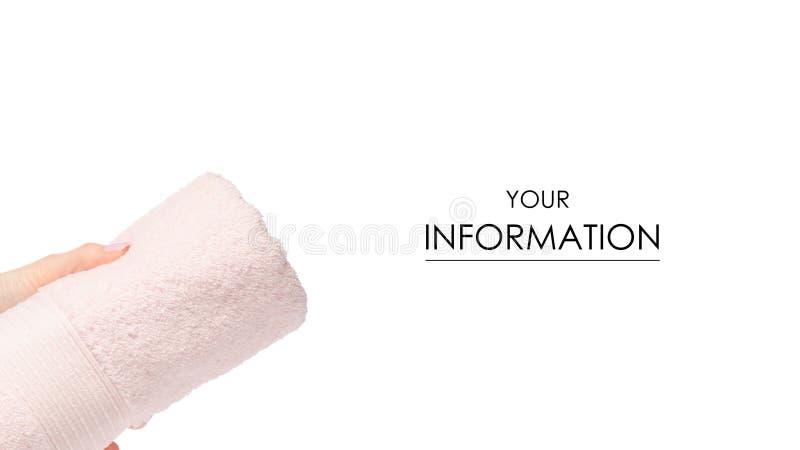 Het roze in hand patroon van het handdoekbroodje stock afbeeldingen