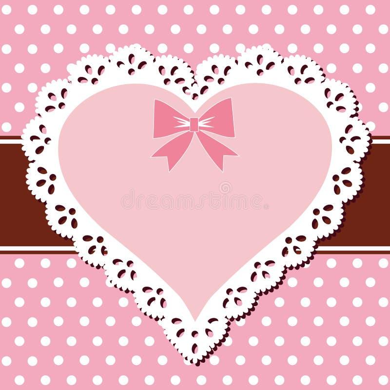 Het roze hart van het kant vector illustratie