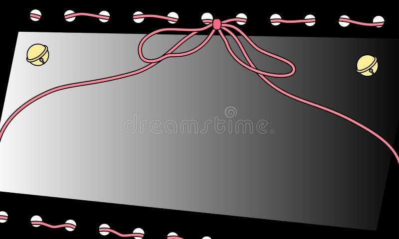 Het roze kader van het garenlint met klokken vector illustratie