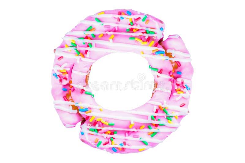 Het roze kleurrijke bovenste laagje van de doughnutsuiker, het suikergoed, snacks, vakantie, isoleerde witte achtergrond stock fotografie