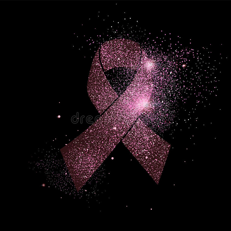 Het roze lint van borstkanker schittert conceptensymbool royalty-vrije illustratie