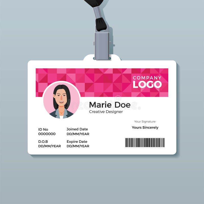 Het roze Malplaatje van het Diamantidentiteitskaart royalty-vrije illustratie