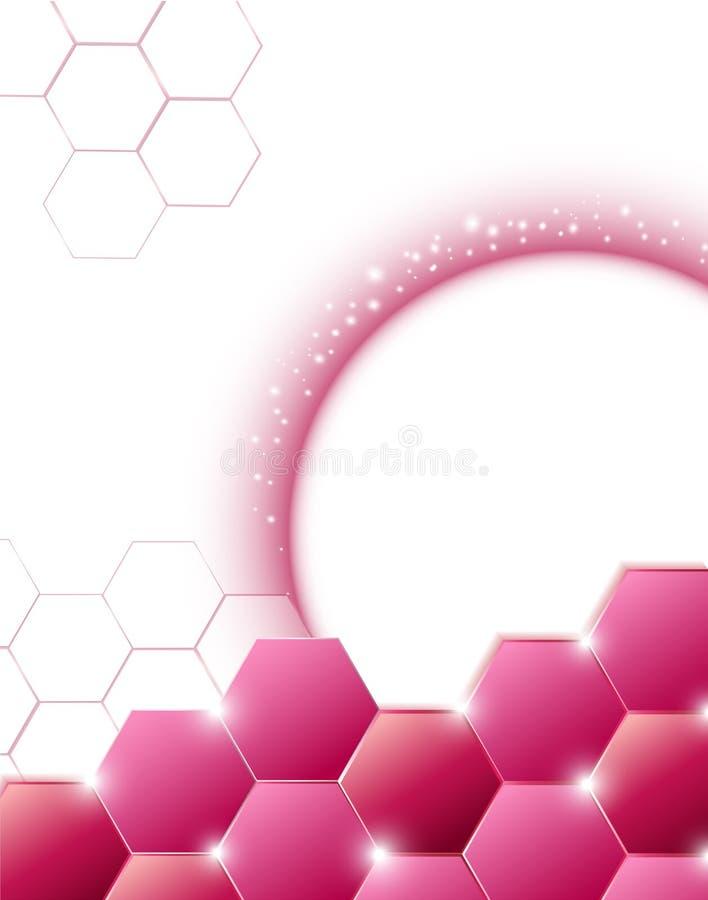 Het roze moderne veelhoekige van de de Vliegerlay-out van de ontwerpbrochure malplaatje beauty cosmetic health spa stock illustratie