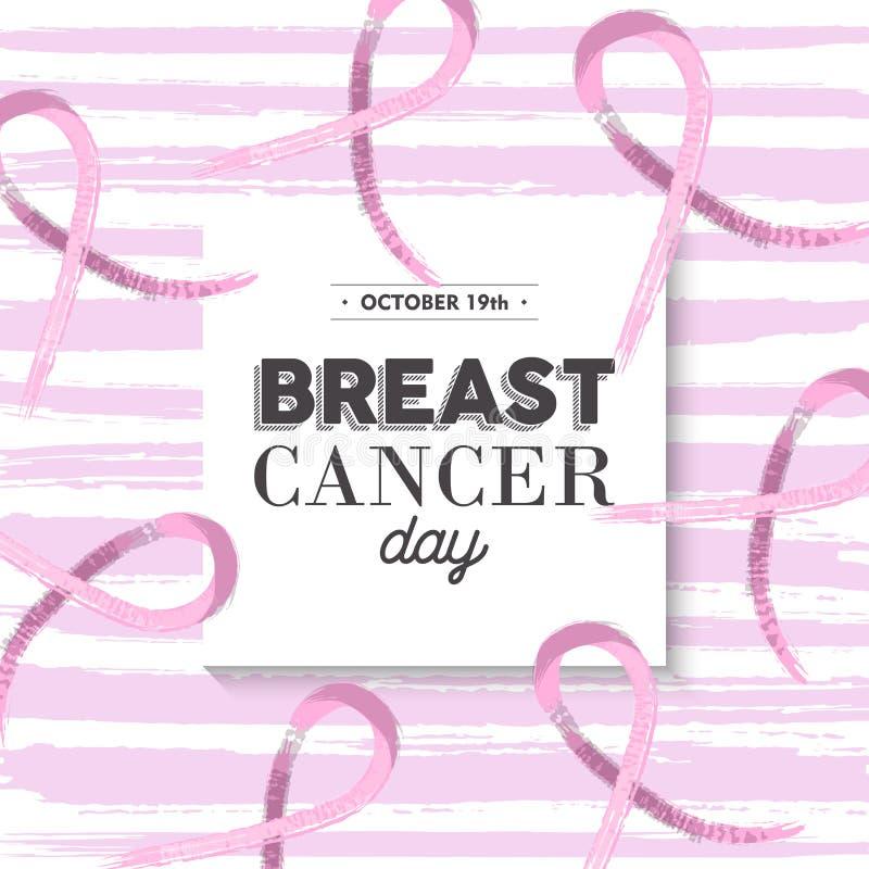 Het roze ontwerp van de de voorlichtingsillustratie van borstkanker royalty-vrije illustratie