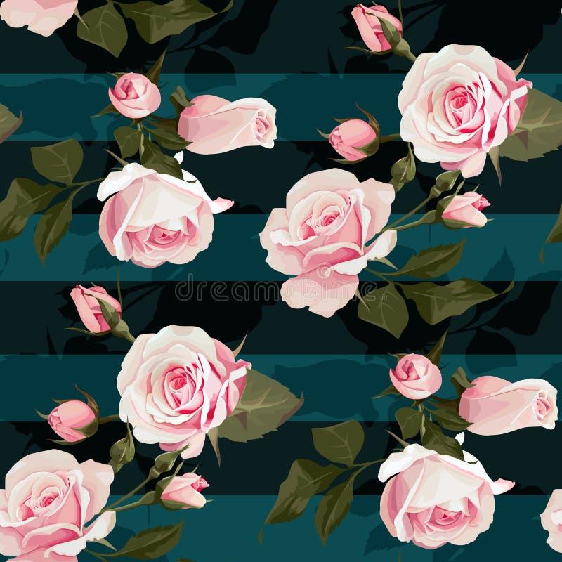 Het roze patroon van rozen vectorseamles Realistische bloemen op strepenachtergrond, bloementextuur royalty-vrije illustratie