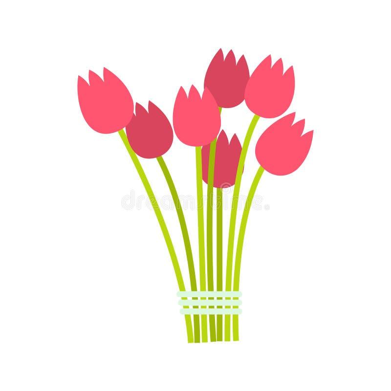Het roze pictogram van het tulpenboeket royalty-vrije illustratie