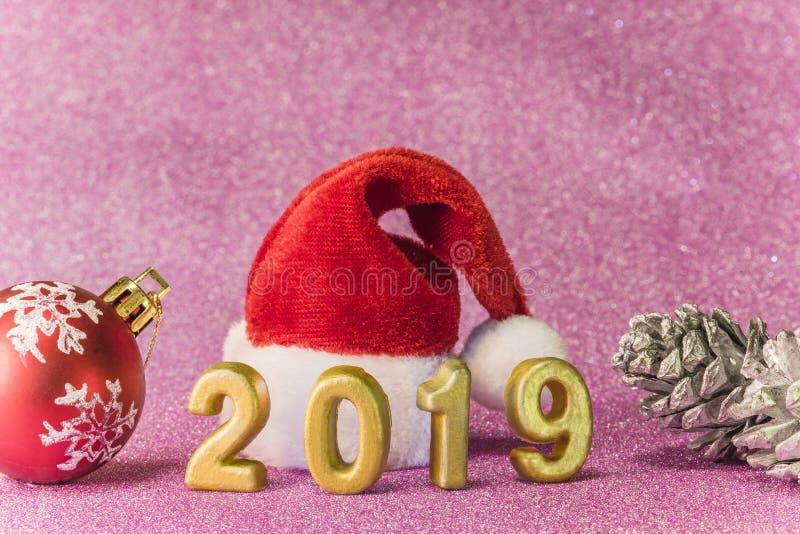 Het roze schittert achtergrond voor de Kaarten van het Nieuwjaar met Kerstmis Ha royalty-vrije stock afbeelding