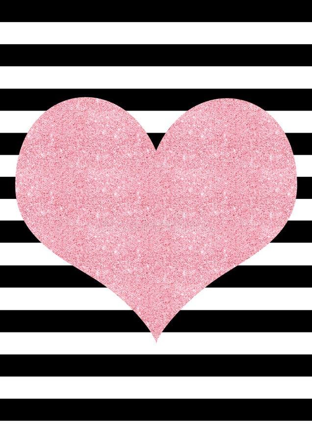 Het roze schittert effect hart zwart-witte gestreepte achtergrond royalty-vrije illustratie