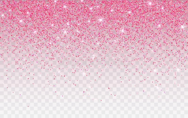 Het roze schittert fonkeling op een transparante achtergrond De trillende achtergrond met fonkelt lichten Vector illustratie stock illustratie