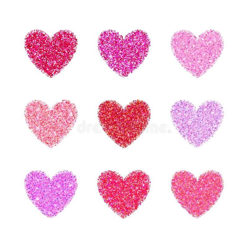 Het roze schittert het hartvorm van de valentijnskaartdag Vectorachtergrond voor huwelijksuitnodiging, groetkaart Het betoverende stock illustratie