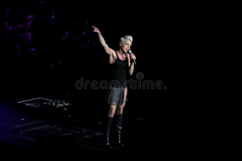 Het Roze van de zanger voert onstage uit royalty-vrije stock afbeeldingen