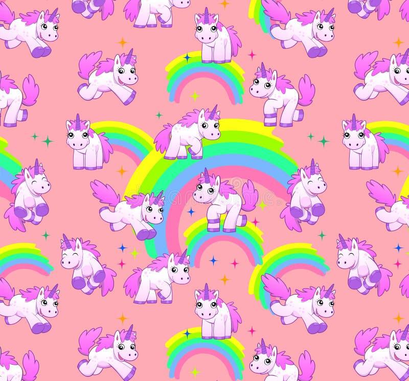 Het roze van het eenhoornpatroon vector illustratie