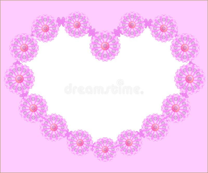 Het roze van het kamillehart stock illustratie
