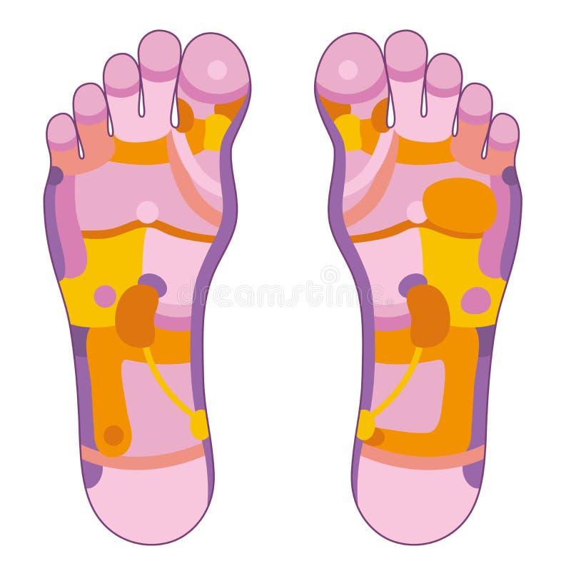 Het roze van voetreflexology royalty-vrije illustratie