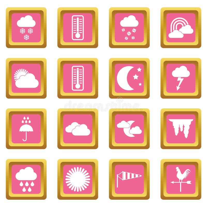 Het roze van weerpictogrammen stock illustratie