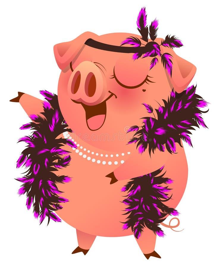 Het roze varken in boaketting zingt karaoke royalty-vrije illustratie