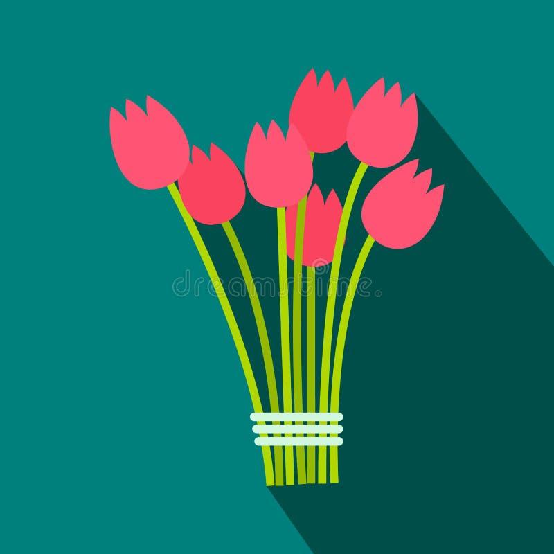 Het roze vlakke pictogram van het tulpenboeket vector illustratie