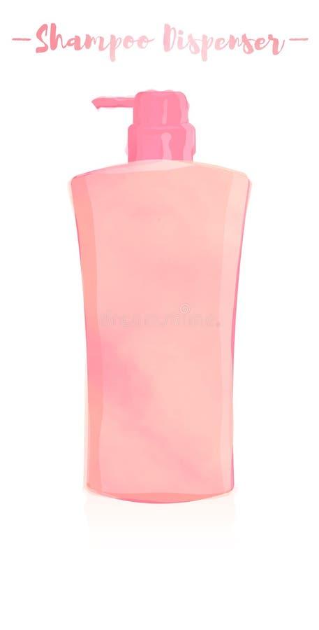 Het roze watercolored het schilderen vectorillustratie van een schoonheid utens royalty-vrije illustratie