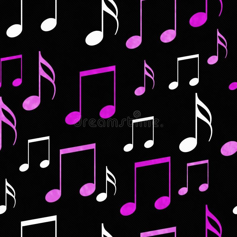 Het roze, Witte en Zwarte de Tegelpatroon van Muzieknota's herhaalt Achtergrond stock illustratie