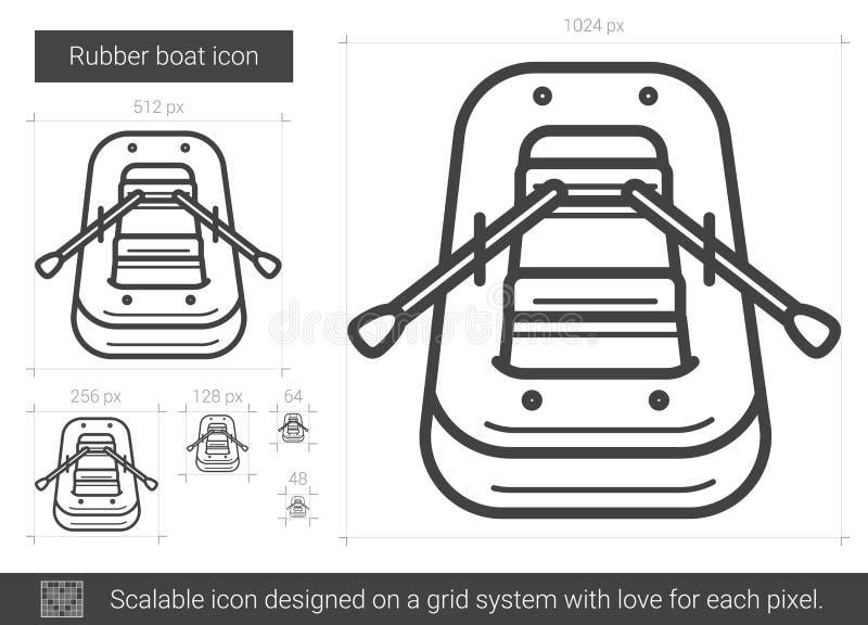 Het rubberpictogram van de bootlijn vector illustratie