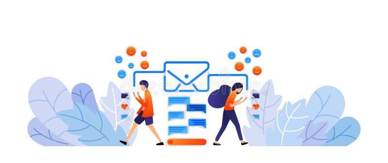 Het ruilen van berichten met sociale media verzend digitale berichten en emoticons met enveloppen bespreking door vectorillustrat vector illustratie