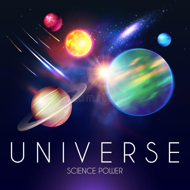 Het ruimte Glanzen Backgrouns met Realistische 3D Planeten en Sterren Univerce en Kosmosontwerp Licht van een Melkweg wetenschap vector illustratie