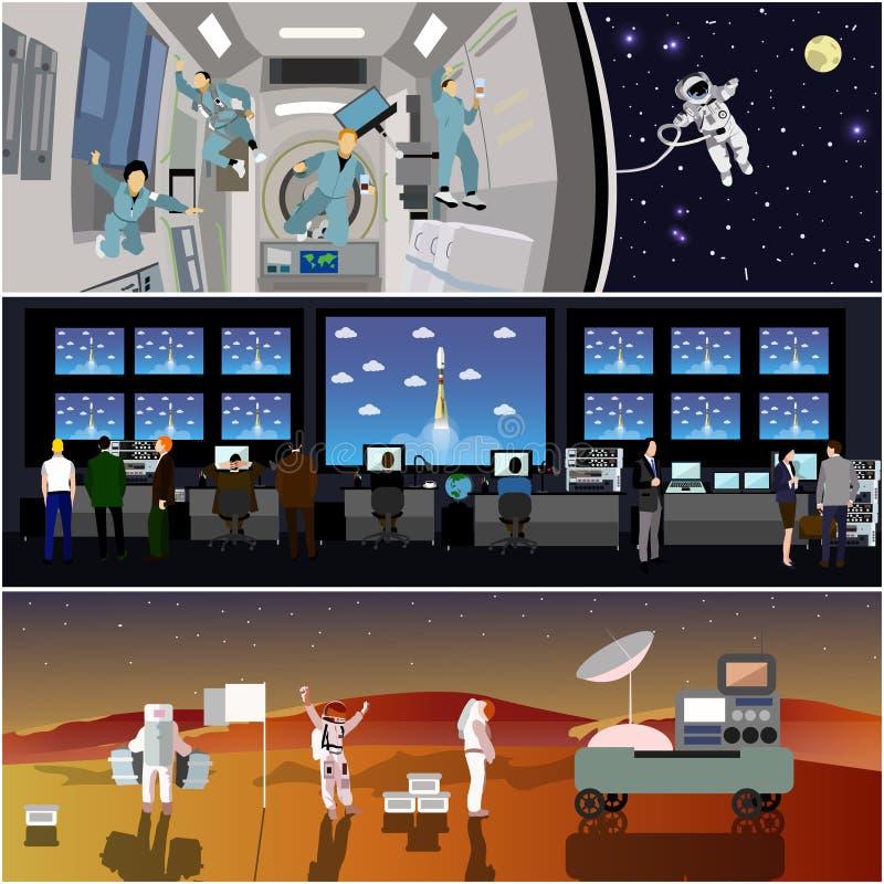 Het ruimtecentrum van de opdrachtcontrole De vectorillustratie van de raketlancering Astronauten in ruimtestation en kosmische ru vector illustratie