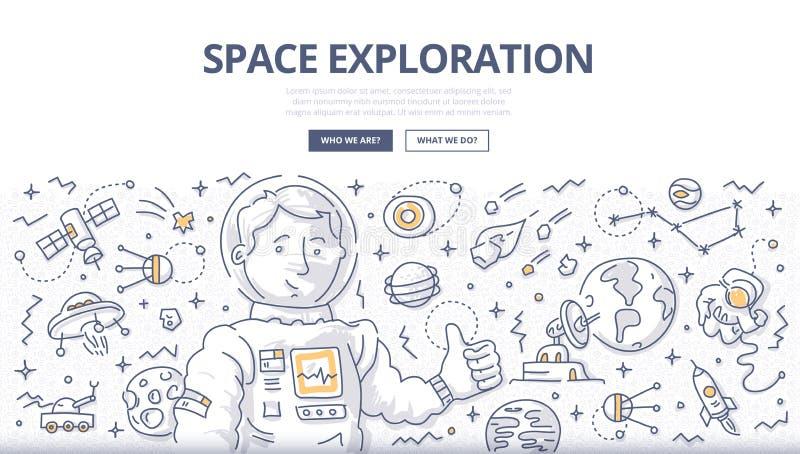 Het ruimteconcept van de Exploratiekrabbel royalty-vrije illustratie