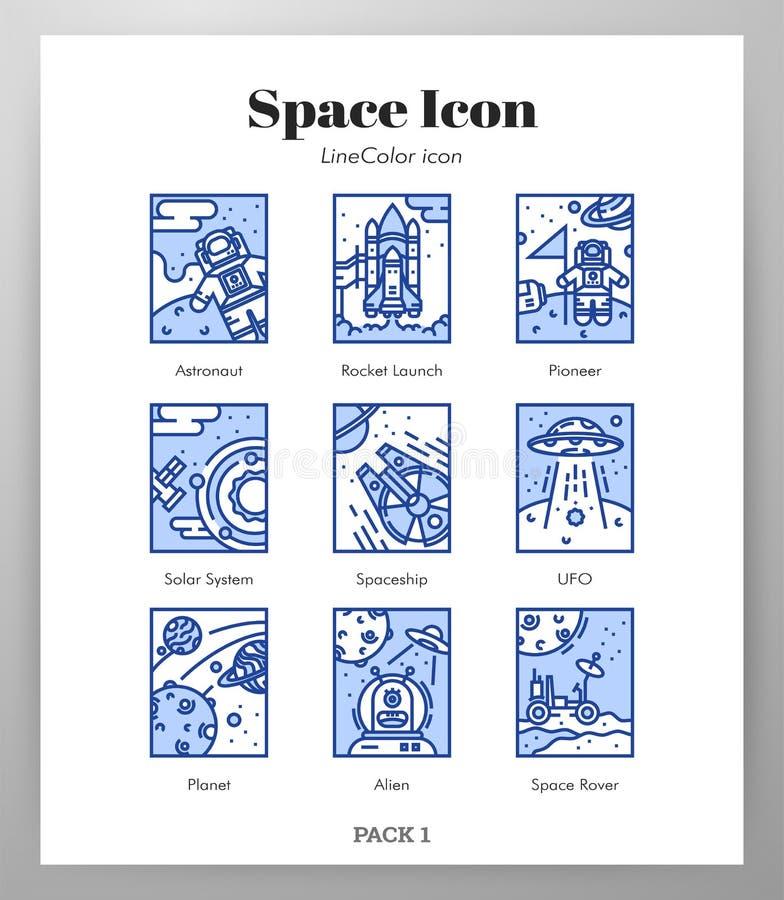 Het ruimtepak van LineColor van kaderpictogrammen royalty-vrije illustratie